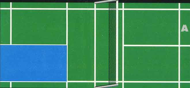 zones de reception de service en badminton en simple