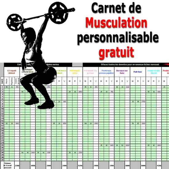 Carnet de musculation excel gratuit - Programme de musculation sur banc a charge guidee ...