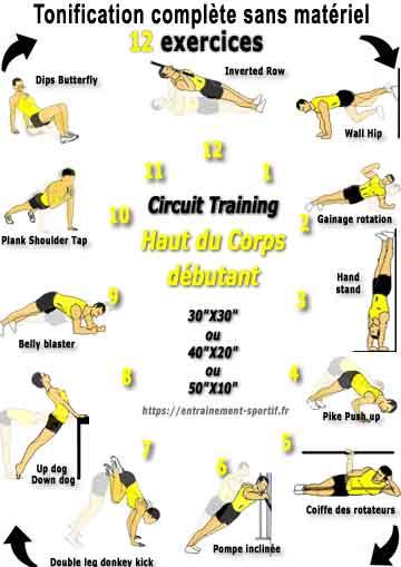 programme en circuit pour renforcer les muscles du haut du corps niveau débutant