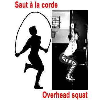 Rope to jump and squat bar over head to lose weight