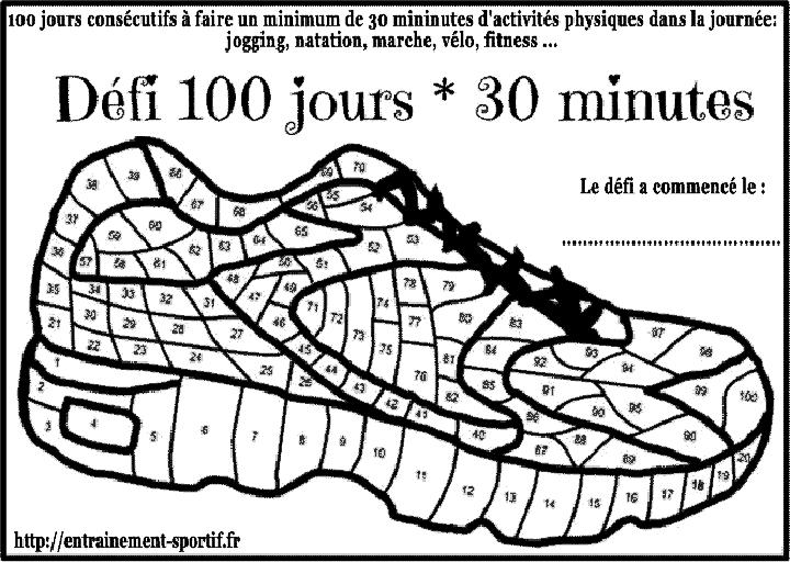 Bekannt Défi 100 jours 30 minutes de sport quotidien FX83