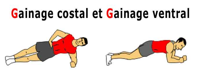 le gainage costal et le gainage ventral , deux gainages de base