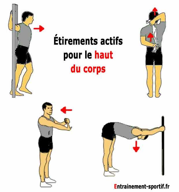 étirements actifs pour le haut du corps avant circuit training
