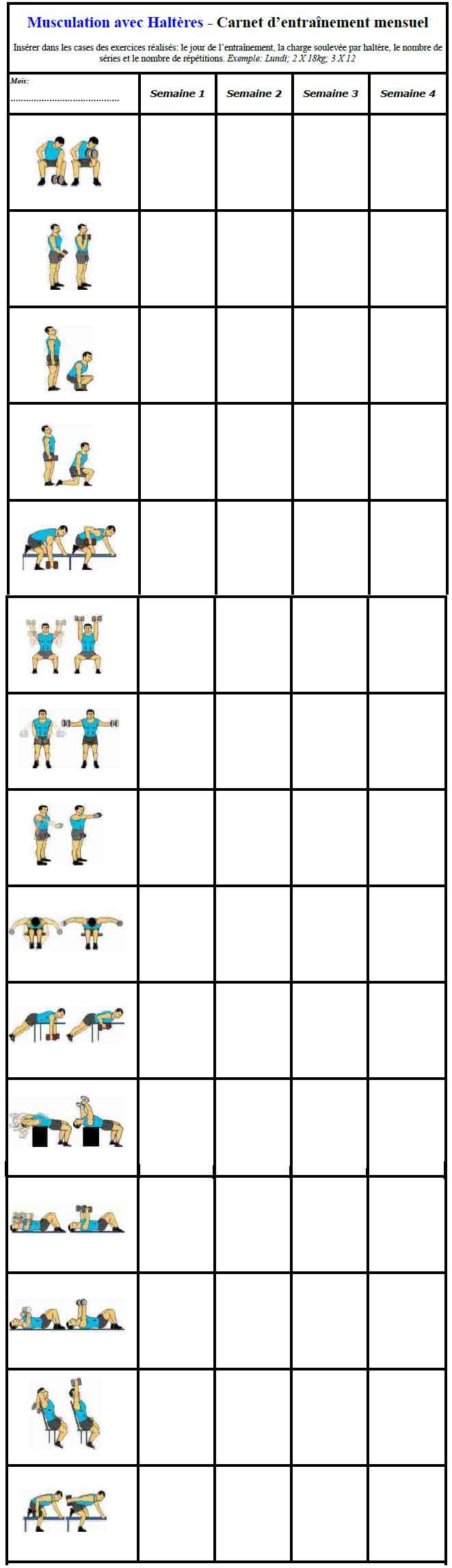 Musculation avec halt res exercices et programme - Exercice de musculation avec banc ...