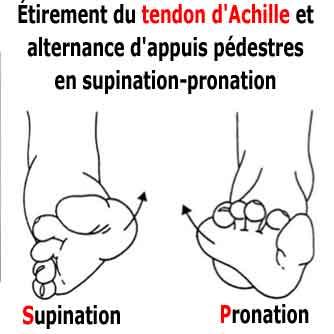 étirement du tendon d'achille et alternance pronation supination du pieds