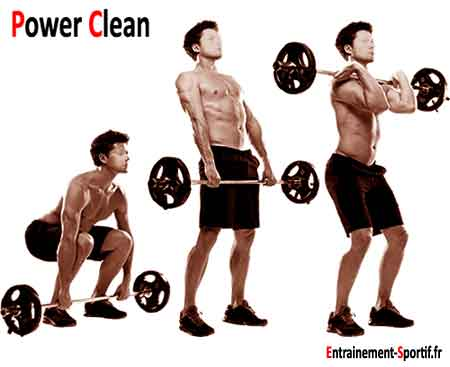 power clean :enchainement de soulevé de terre, rowing, shrug et curl